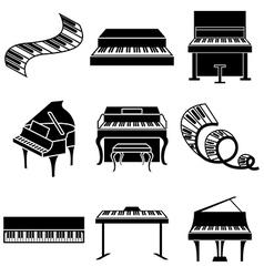 logo icons piano vector image vector image