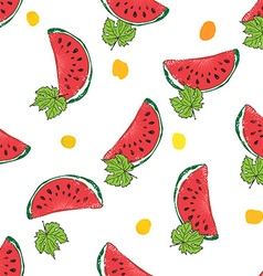 Water Melon Hand drawn Seamless Pattern vector image vector image