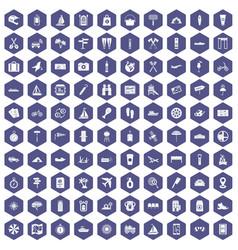 100 journey icons hexagon purple vector