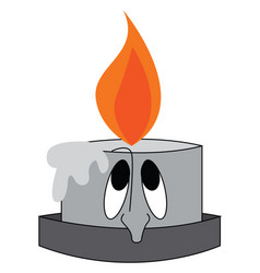 a sad burning grey candle on white background vector image