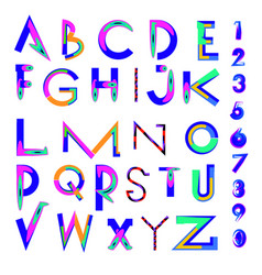 Abstract colorful font and alphabet vector