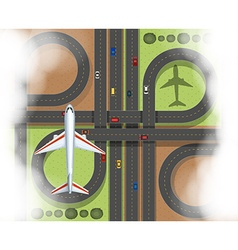 Aerial scene with airplane and roads vector