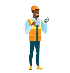 African-american builder holding a mobile phone vector