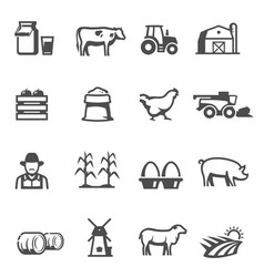 agriculture and farming icons successful farm vector image