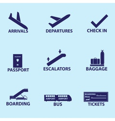 airport signs icons eps10 vector image