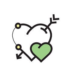 arrow on heart icon green vector image