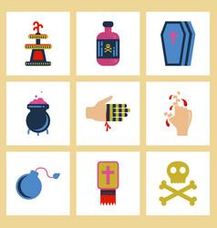 Assembly flat icons halloween symbols vector