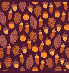 Autumn pattern with cones and acorns vector