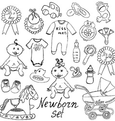 Baicons toys clothes and cradle hand drawn vector