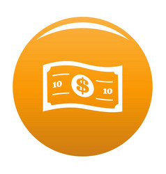 banknote icon orange vector image