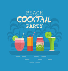 beach cocktail party poster with smoothies vector image