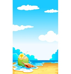Beach scene with coconut juice vector