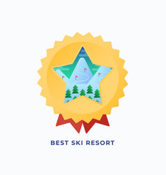 Best snowboard resort medal flat style vector