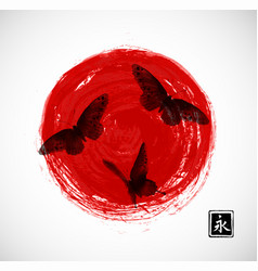 Big red sun and three black butterflies on white vector