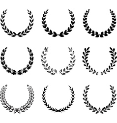 Black laurel wreaths Set 2 vector image