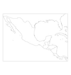 blank political map of central america and mexico vector image