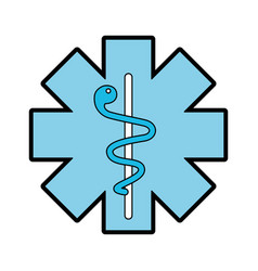 Blue caduceus medical shield vector