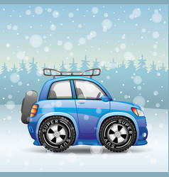 Blue car in the snow vector