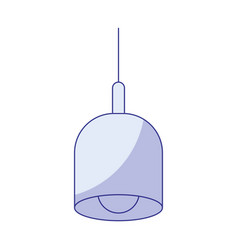 Blue shading silhouette of pendant lamp vector