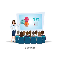 business seminar female speaker making vector image