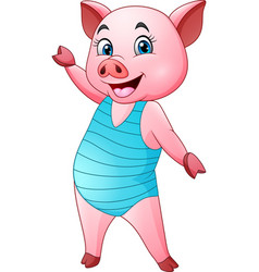 cartoon pig in a blue swimsuit vector image