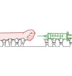 Cartoon protesting people against vaccine team vector