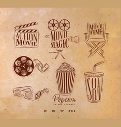 cinema signs craft vector image