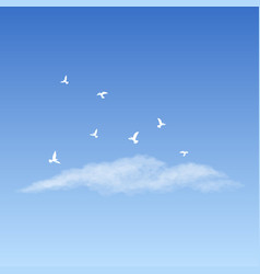 Cloud and flying doves vector