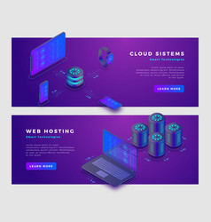 Cloud storage and web hosting concept banner vector