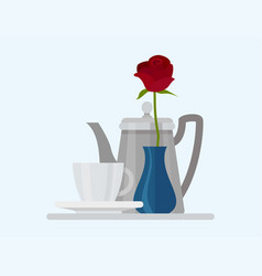 Coffee cup food design restaurant rose flower vector