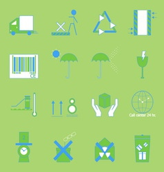 Create parcel color sign on green background vector image