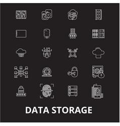 data storage editable line icons set on vector image