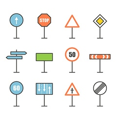 Different road sign icons collection Design vector image