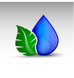 drop with leaf vector image