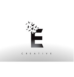 E logo letter with flock of birds flying and vector