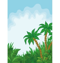Exotic landscape palm and plants vector image