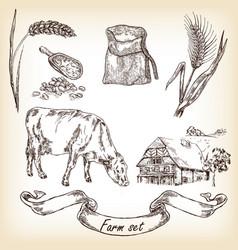 Farm set cow and farm house sketch vector
