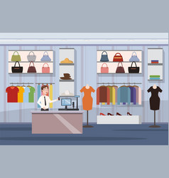 fashion shop super market female clothes shopping vector image