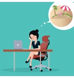 Girl dreaming about vacation Sitting in the vector image