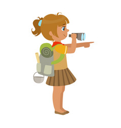 Girl scout carrying a backpack and looking through vector