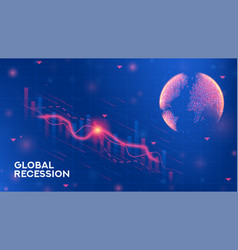 Global recession banner template vector