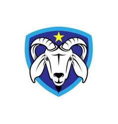 Goat head shield logo vector