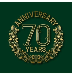 Golden emblem of seventieth years anniversary vector image
