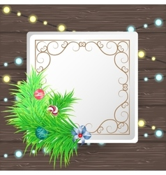 Greeting Christmas and New Year paper card with vector image