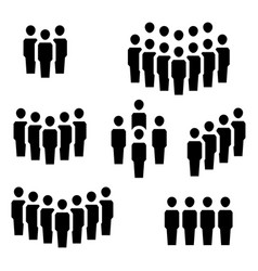 group people in flat style teamwork symbols vector image