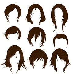 Hair styling for woman drawing Brown Set 2 vector image