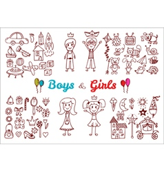 Hand drawn baby boy and girl toys set Elements vector
