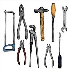 hand drawn tool kit vector image