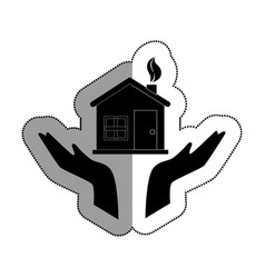 Hands human with home ecology isolated icon vector