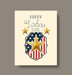 Happy labor day with star and usa flag vector